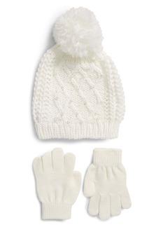 Capelli New York Kids' Embellished Pompom Beanie & Gloves (Little Girl & Big Girl)