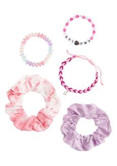 Capelli New York Kids' GRL PWR 5-Piece Assorted Scrunchie & Bracelet Set