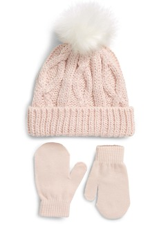 Capelli New York Kids' Metallic Pompom Beanie & Mitten Set (Big Girl)