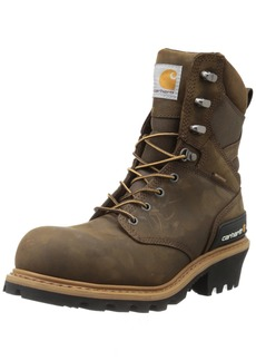 """Carhartt Men's 8"""" Waterproof Composite Toe Leather Logger Boot CML8360 Crazy Horse Brown Oil Tanned"""