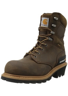 "Carhartt Men's 8"" Waterproof Composite Toe Leather Logger Boot CML8369 Crazy Horse Brown Oil Tanned"