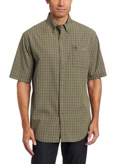 Carhartt Men's Bellevue Plaid Sheeting Short Sleeve Shirt Button FrontOlive  (Closeout)