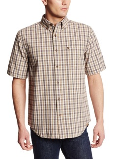Carhartt Men's Big & Tall Essential Plaid Button Down Short Sleeve ShirtDark Khaki  (Closeout)