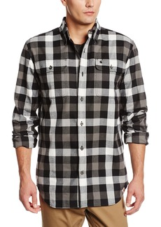 Carhartt Men's Big & Tall Hubbard Plaid Long Sleeve Shirt Heavyweight Flannel Original FitBlack  (Closeout)