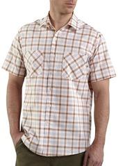 Carhartt Men's Short Sleeve Lightweight Plaid ShirtTangerine  (Closeout)
