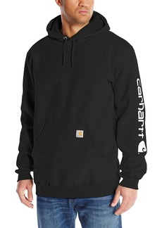 Carhartt Men's Big & Tall Signature Sleeve Logo Midweight Sweatshirt Hooded