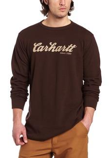 Carhartt Men's Big & Tall Textured Knit Long Sleeve Crewneck Script Logo Relaxed