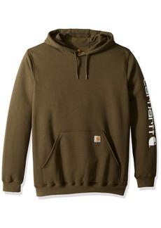 Carhartt Men's Big and Tall Big & Tall MW Signature Sleeve Logo Hooded Sweatshirt K288  Large