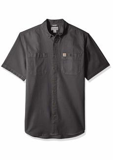 Carhartt Men's Big and Tall Big & Tall Rugged Flex Rigby Short Sleeve Work Shirt 039-Gravel 4X-Large