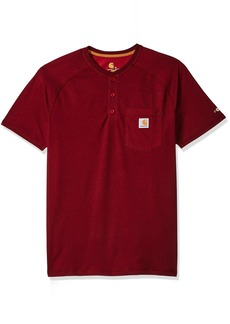 Carhartt Men's Big and Tall B&T Force Cotton Delmont Short Sleeve Henley Relaxed Fit red/Brown Heather 3X-Large