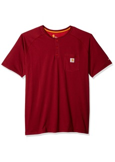 Carhartt Men's Force Cotton Delmont Short Sleeve Henley Relaxed Fit red/brown heather 2X-Large