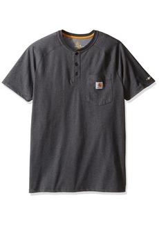 Carhartt Men's Force Cotton Delmont Short Sleeve Henley Relaxed Fit