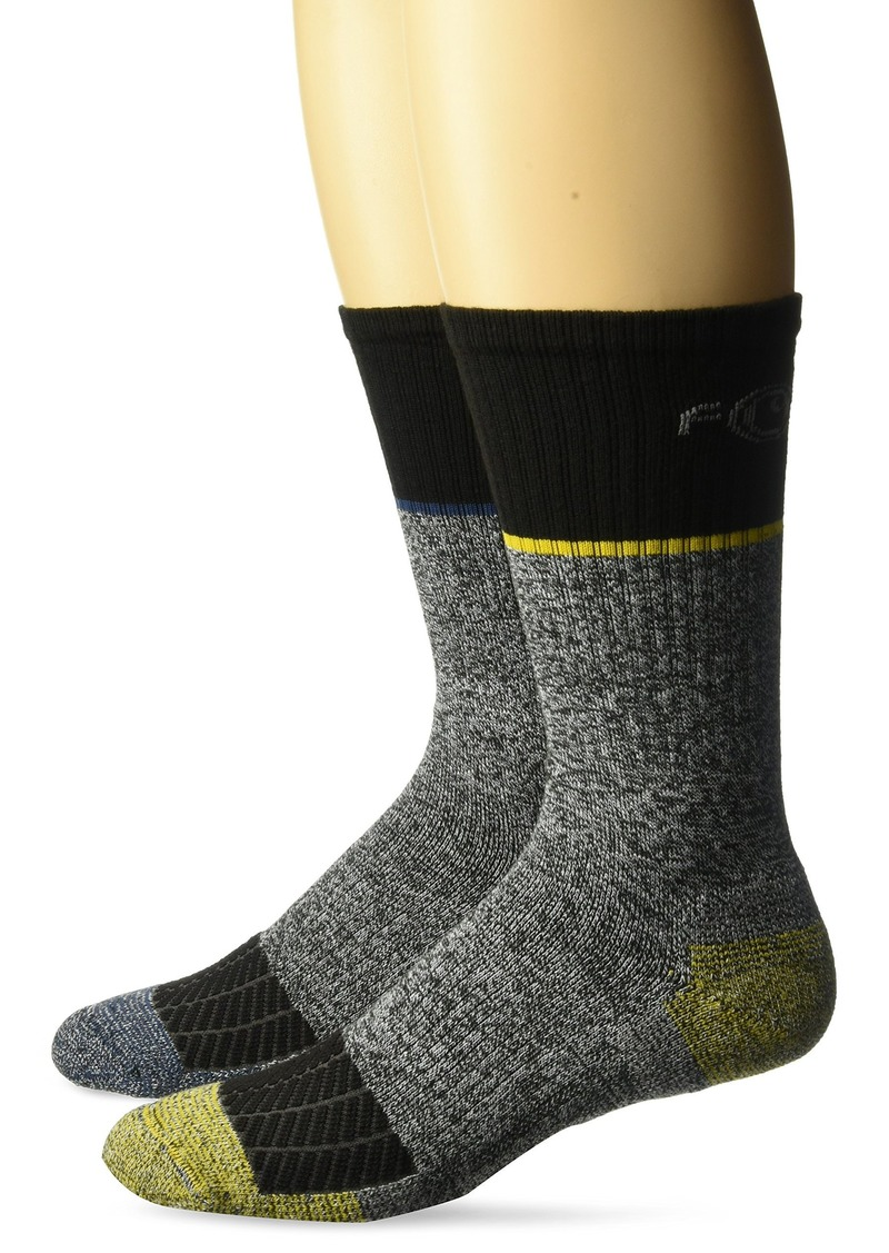 Carhartt Men's Force Performance Steel Toe Crew Socks-2 Pair black grey yellow blue Shoe Size: 6-12
