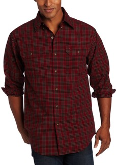 Carhartt Men's Fort Plaid Long Sleeve Shirt Chambray Button Front Relaxed FitDark Red  (Closeout)XXX-Large Tall