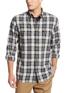 Carhartt Men's Fort Plaid Long Sleeve Shirt Chambray Button Front Relaxed FitFlint Stone  (Closeout)