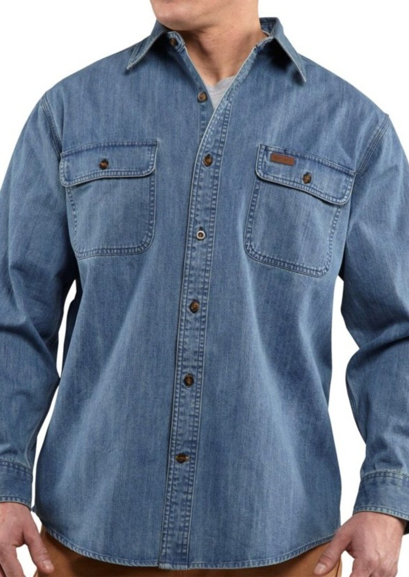 carhartt carhartt washed denim work shirt long sleeve