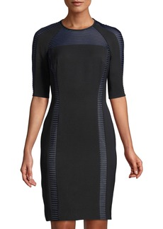 Carmen Marc Valvo 1/2-Sleeve Mesh-Insert Cocktail Dress