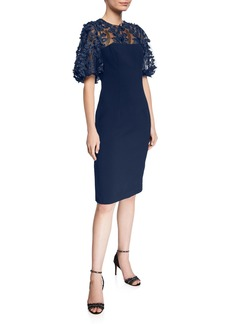Carmen Marc Valvo 3D Embellished Puff-Sleeve Crepe Sheath Dress
