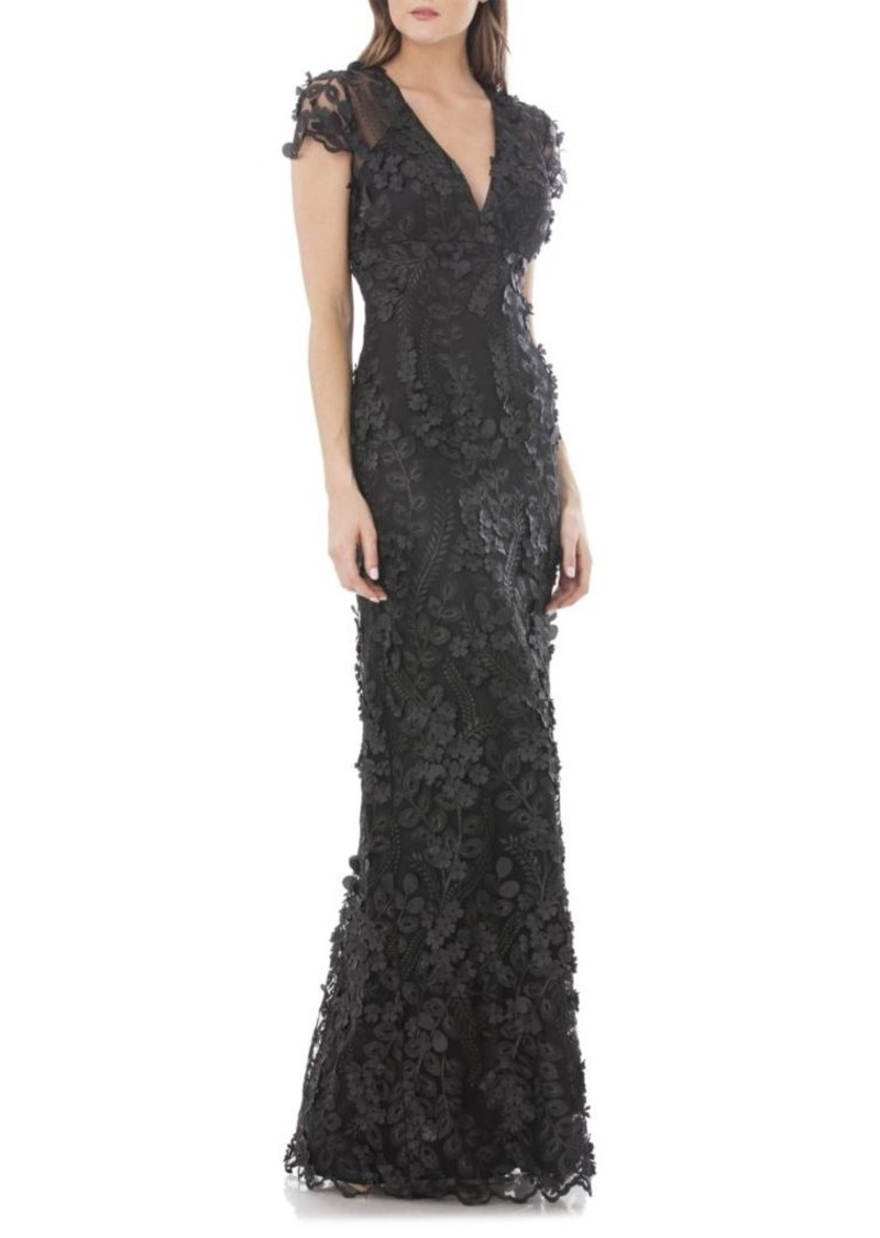 Carmen Marc Valvo 3D Floral Mermaid Gown
