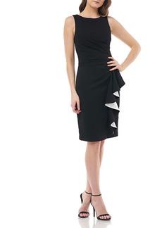 Carmen Marc Valvo Bateau-Neck Sleeveless Ruched Dress w/ Satin-Line Side Ruffle