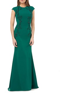 Carmen Marc Valvo Beaded Embroidery Capped Sleeve Trumpet Gown