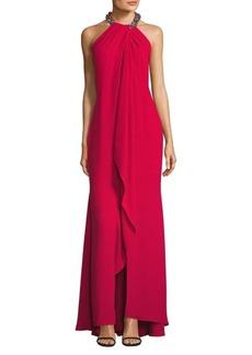 Carmen Marc Valvo Embellished Halter Gown
