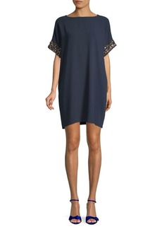 Carmen Marc Valvo Beaded-Sleeve Shift Dress