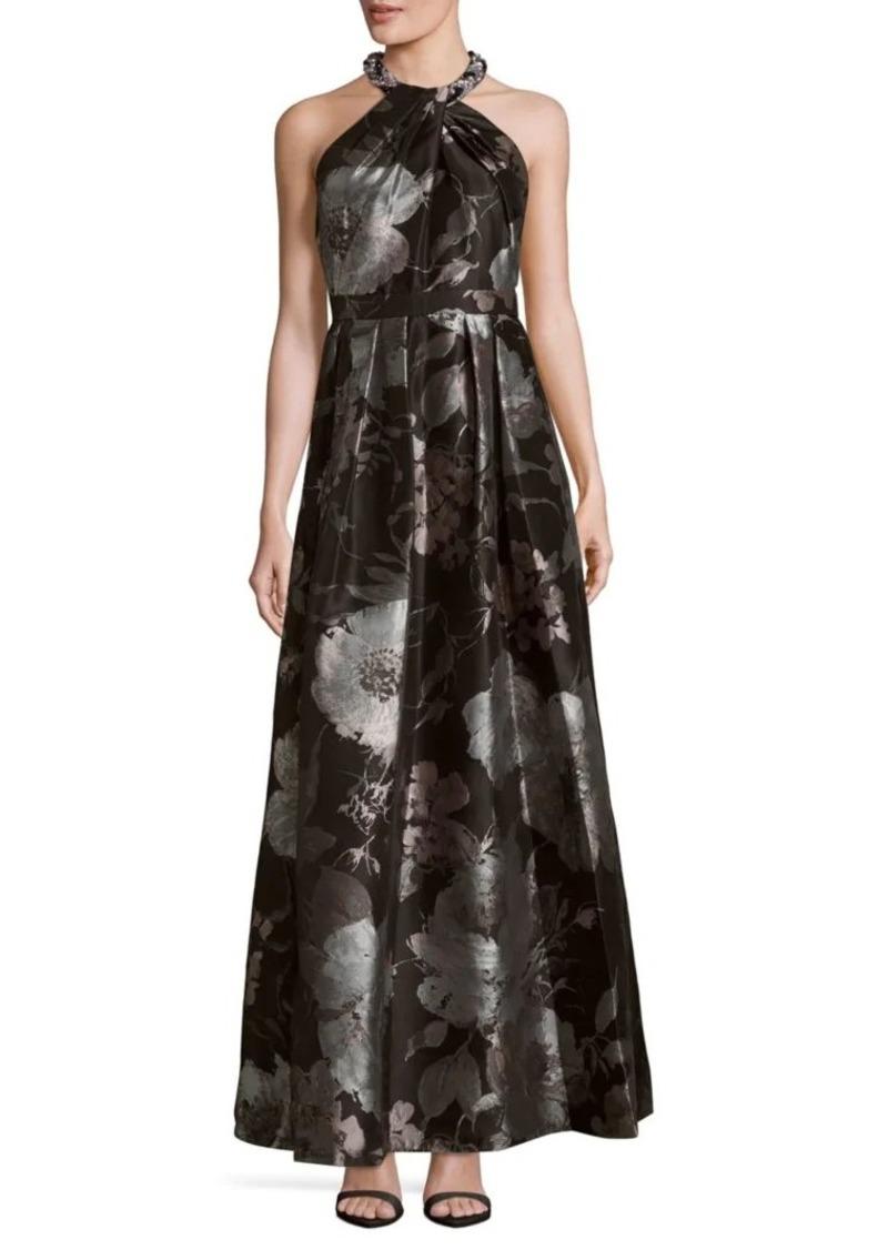 201b90a4e87db Carmen Marc Valvo Brocade Floral-Print Halterneck Dress