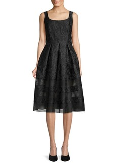 Carmen Marc Valvo Brocade Knee-Length Cocktail Dress