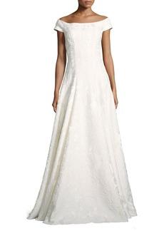 Carmen Marc Valvo Cap-Sleeve Floral Brocade Gown