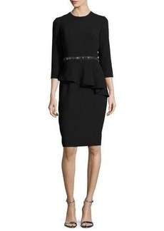 Carmen Marc Valvo 3/4-Sleeve Crepe Peplum Cocktail Dress