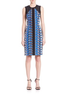 Carmen Marc Valvo Abstract Pebble Crepe Cocktail Dress