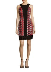 Carmen Marc Valvo Abstract Pebble Sheath Dress