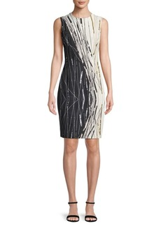 Carmen Marc Valvo Abstract Sheath Dress