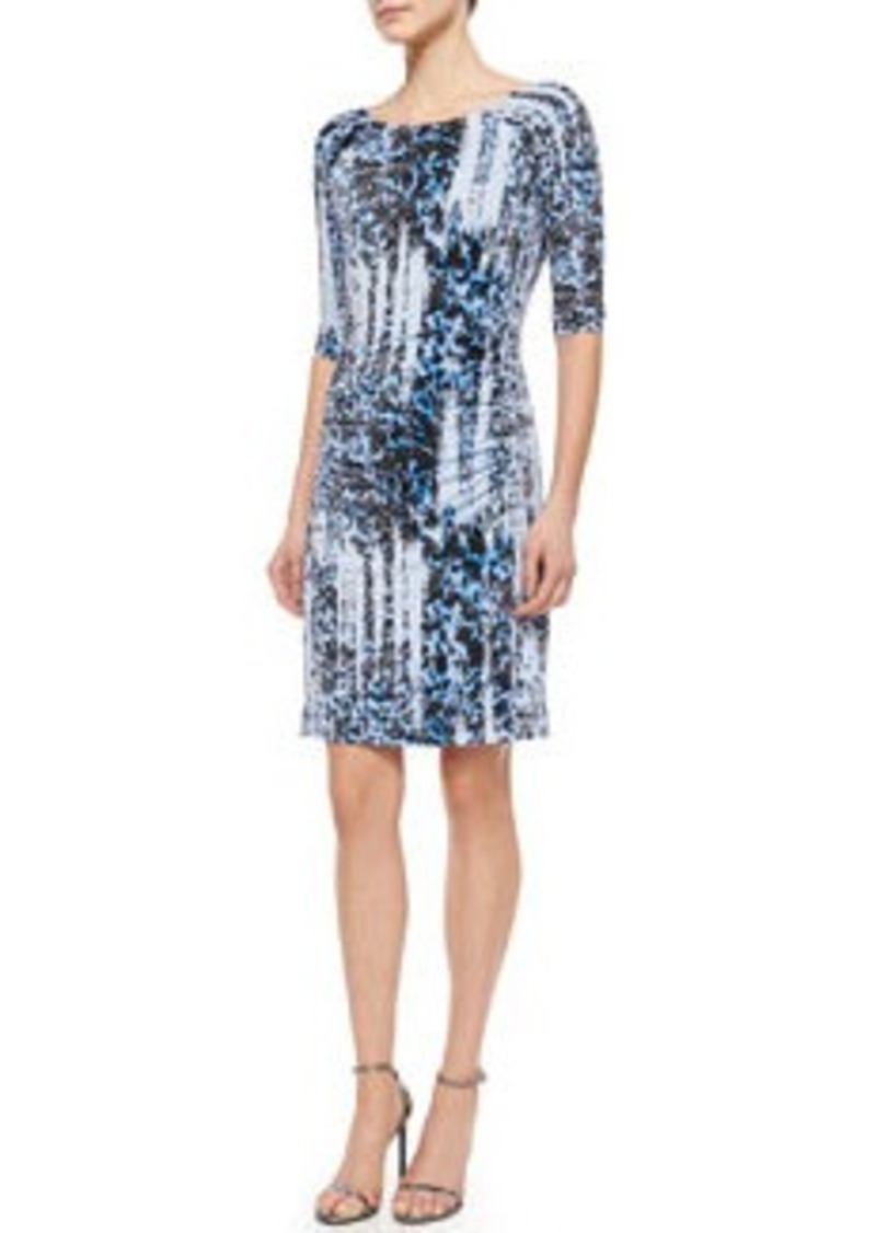Carmen Marc Valvo 3/4-Sleeve Ikat-Print Jersey Dress