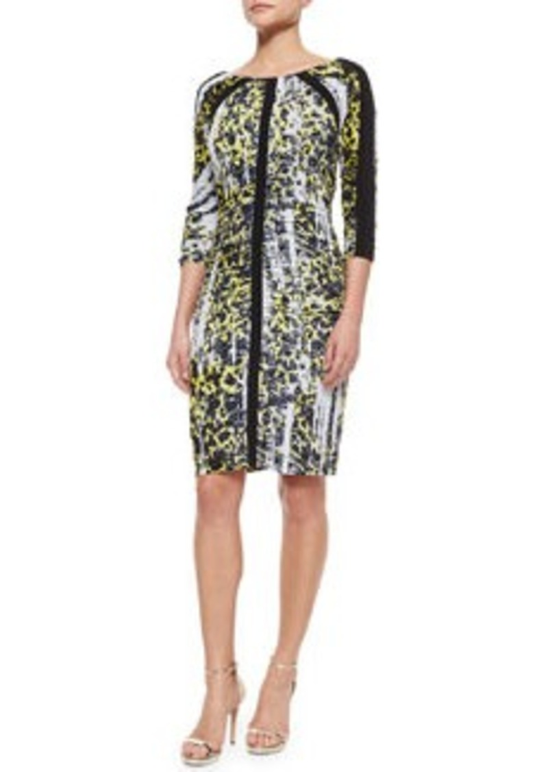 Carmen Marc Valvo 3/4-Sleeve Leopard-Print Ruched Dress