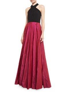 Carmen Marc Valvo Sleeveless Beaded Jersey & Taffeta Ball Gown