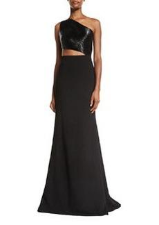 Carmen Marc Valvo One-Shoulder Asymmetric Beaded Crepe Gown