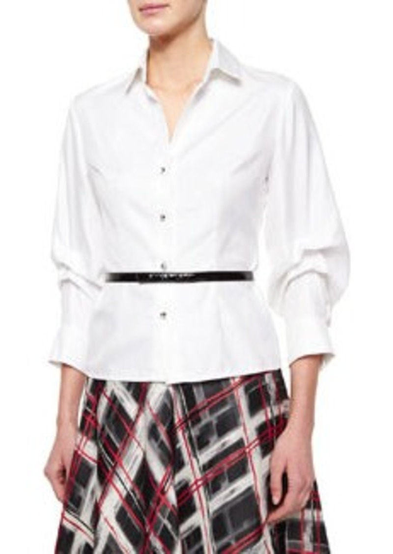 Carmen Marc Valvo Long-Sleeve Button-Front Blouse