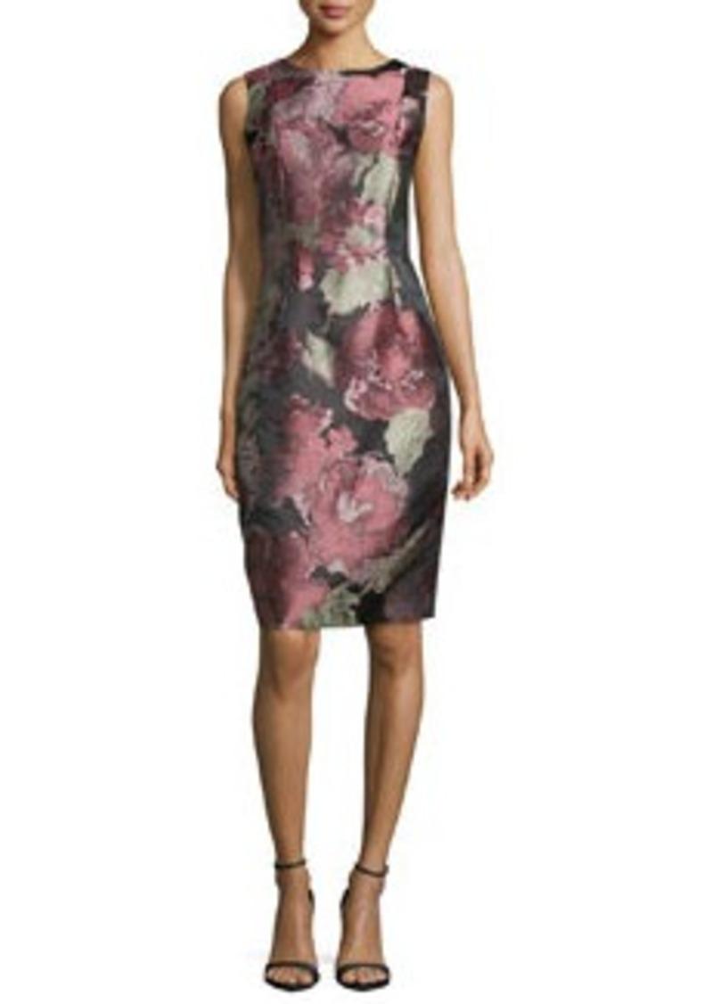 Carmen Marc Valvo Sleeveless Floral-Print Cocktail Dress