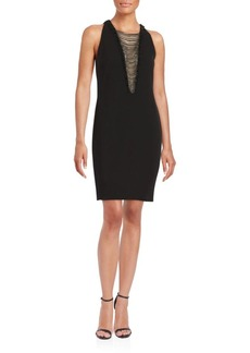 Carmen Marc Valvo Bead Front Evening Dress