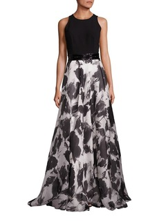 Carmen Marc Valvo Beaded Belt Floral Silk-Blend Gown