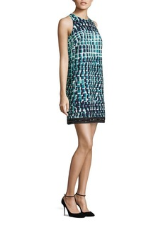 Carmen Marc Valvo Beaded Cloque Shift Dress