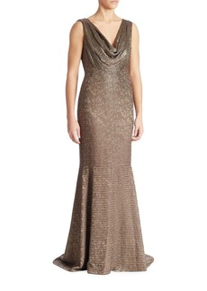 Carmen Marc Valvo Beaded Cowlneck Gown