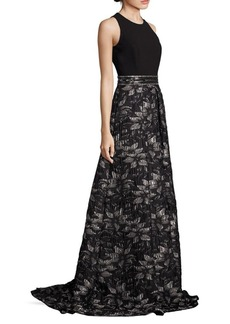 Carmen Marc Valvo Beaded Floral Jacquard Gown