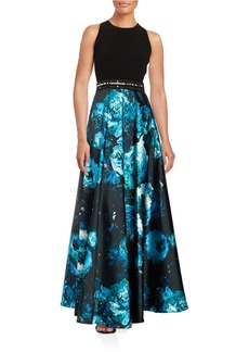 CARMEN MARC VALVO Beaded Floral-Print Sleeveless A-Line Gown