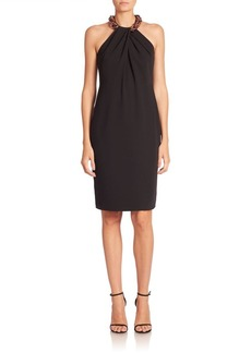 Carmen Marc Valvo Beaded Halter Dress