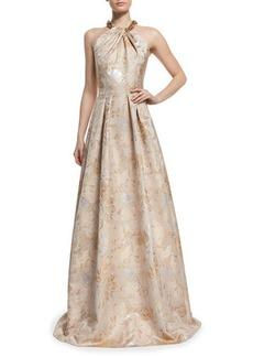 Carmen Marc Valvo Beaded Halter Floral Jacquard Ball Gown