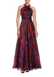 CARMEN MARC VALVO Beaded Halter Silk Gown