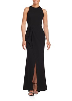 Carmen Marc Valvo Beaded Halterneck Gown